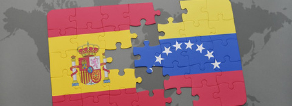 puzzle with the national flag of spain and venezuela on a world map background. 3D illustration